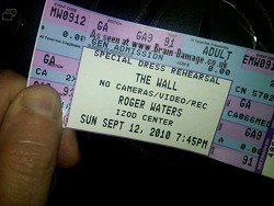 Roger Waters dress rehearsal ticket, 12th September 2010