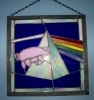 Pink Floyd design stained glass panel