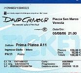 David Gilmour - Venice 2006 ticket