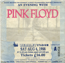 Pink Floyd, Wembley 1988 ticket