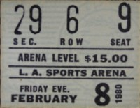 Pink Floyd The Wall - LA Sports Arena ticket, Feb 1980