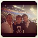 Nick Mason, Ed Sheeran and Richard Jones at Olympics Closing Ceremony