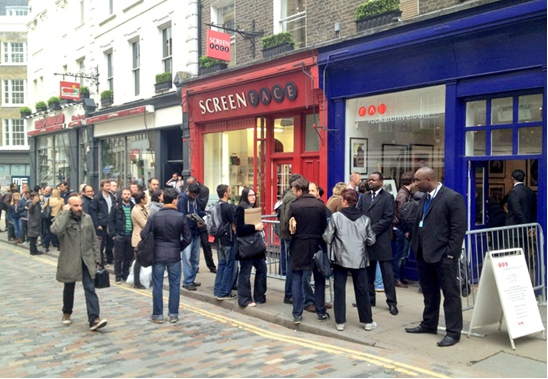Crowd outside Rockarchive waiting to see Nick Mason