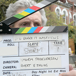 Storm Thorgerson during filming of Syd Barrett documentary