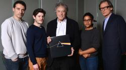 Sir Tom Stoppard with Darkside cast (photo: BBC)
