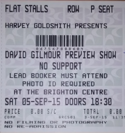 David Gilmour - Brighton Centre, September 5th 2015 ticket