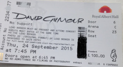 David Gilmour - Royal Albert Hall, London, 2015 ticket