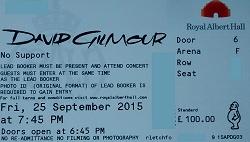 David Gilmour - Royal Albert Hall 2015 ticket