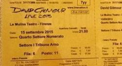 David Gilmour Firenze 2015 ticket