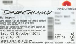 David Gilmour ticket - Royal Albert Hall London