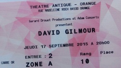 David Gilmour - Orange, France, 2015 ticket