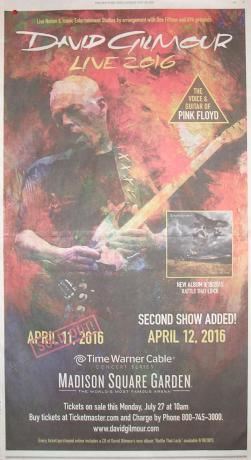 David Gilmour - Madison Square Garden, New York, April 2016 poster
