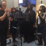 David Gilmour plus singers, including Sarah Brown. Picture: Polly Samson