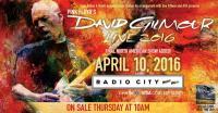 David Gilmour - Radio City Music Hall, New York, April 10th 2016