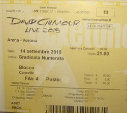 David Gilmour - Verona 2015 ticket