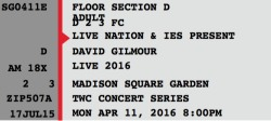 David Gilmour - Madison Square Garden 2016 ticket