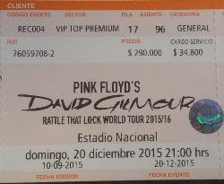 David Gilmour ticket - Santiago
