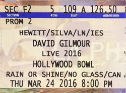 DAVID GILMOUR - HOLLYWOOD BOWL 2016 TICKET