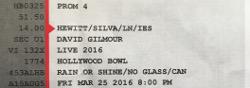 David Gilmour - Hollywood Bowl 2016 ticket