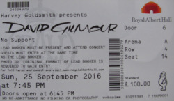David Gilmour - London, Royal Albert Hall 2016 ticket