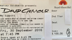 David Gilmour - Royal Albert Hall, London, September 2016 ticket