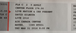 David Gilmour, Toronto, Canada 2016 ticket