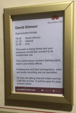 David Gilmour - Royal Albert Hall Teenage Cancer Trust concert filming notice