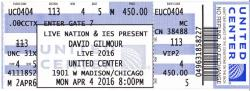 David Gilmour - Chicago United Center 2016 ticket