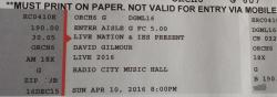 David Gilmour - RCMH New York, 2016 ticket