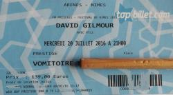 David Gilmour - Nimes, France, 2016 concert ticket