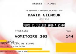 David Gilmour - Arenes de Nimes, France, ticket