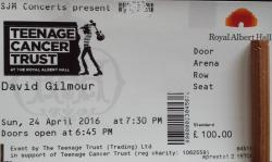 David Gilmour - Teenage Cancer Trust concert ticket - Royal Albert Hall, London 2016