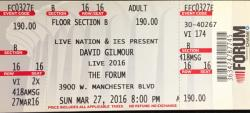 David Gilmour - LA Forum ticket, 2016