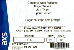 Roger Waters - 2017 Kansas City ticket