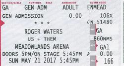 Roger Waters - Meadowlands, 21st May 2017 ticket