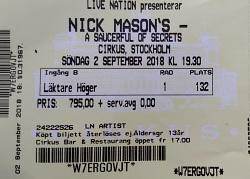Nick Mason's Saucerful Of Secrets - Cirkus, Stockholm, Sweden ticket, 3rd September 2018