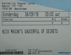 Nick Mason's Saucerful Of Secrets - Amsterdam 2018 ticket