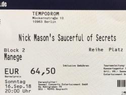 Nick Mason's Saucerful Of Secrets - 2018 concert ticket
