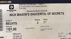 Nick Mason's Saucerful Of Secrets - Vienna, Austria concert ticket 2018