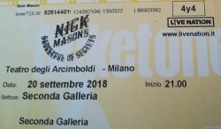 Nick Mason - Milan ticket