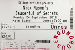 Nick Mason's Saucerful Of Secrets - 2018 concert ticket