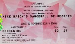 Nick Mason's Saucerful Of Secrets - Paris, France, 10th September 2018