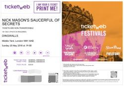 Nick Mason's Saucerful Of Secrets - Dingwalls, London, 20th May 2018 ticket