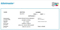Roger Waters - Dublin ticket 2018