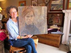 Maggie Matthews of Virginia's Junk with the Syd Barrett painting