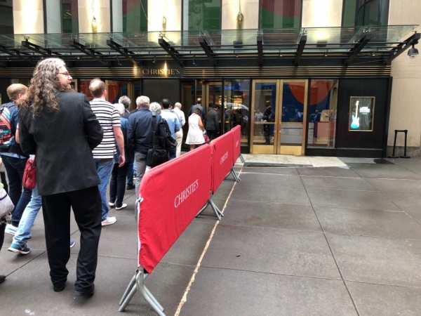 The doors of Christie's New York for the David Gilmour Guitar Collection auction