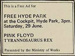 Hyde Park Free Concert advert