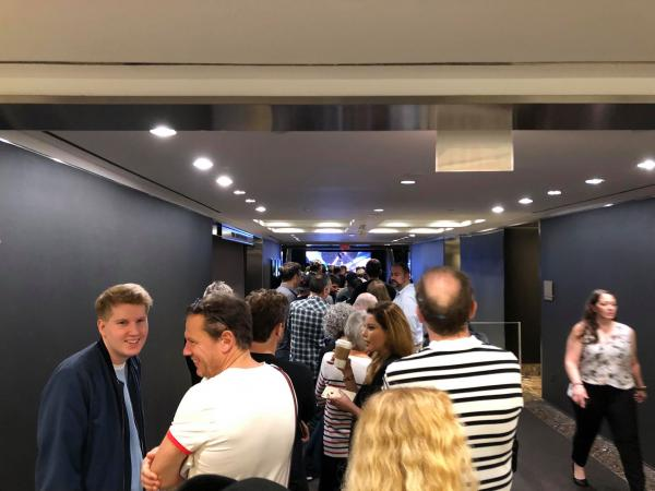 Line inside Christie's New York, for the David Gilmour Guitar Collection auction
