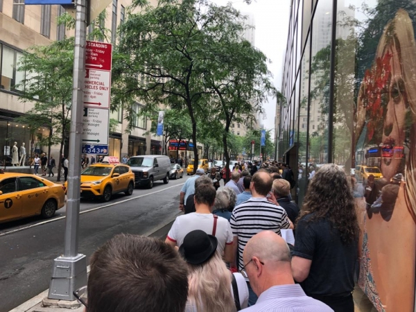 Line to enter Christie's New York for the David Gilmour Guitar Collection auction