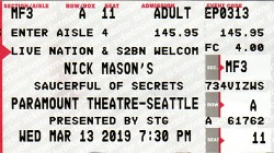Nick Mason's Saucerful Of Secrets - Seattle, WA, USA, 13 March 2019 ticket
